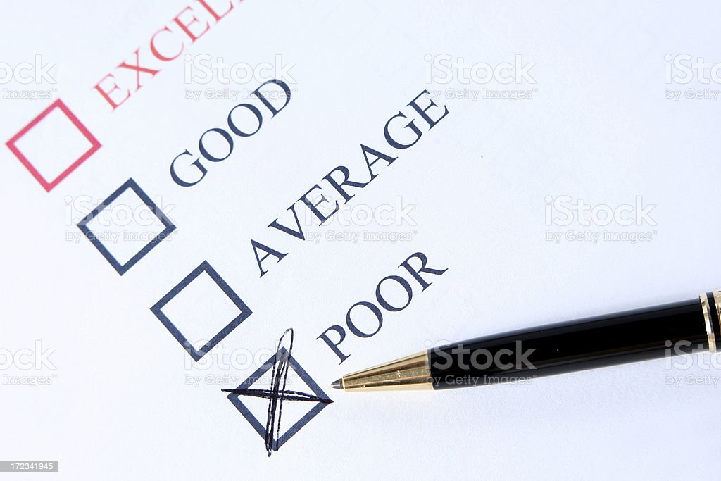 Handwritten Poor check stock photo