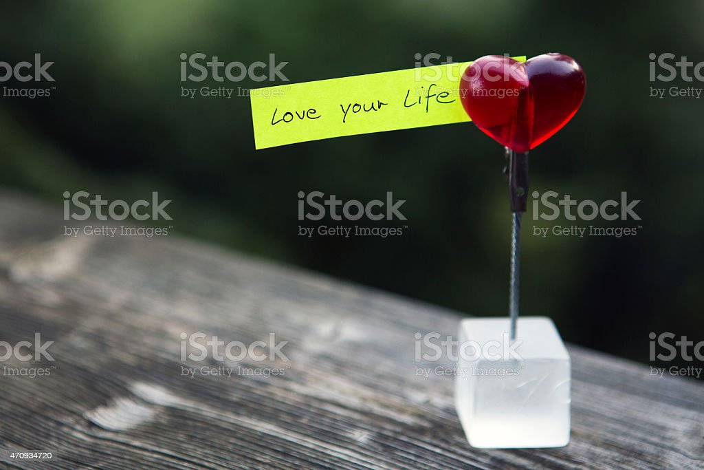 handwritten quote: 'love your life' stock photo