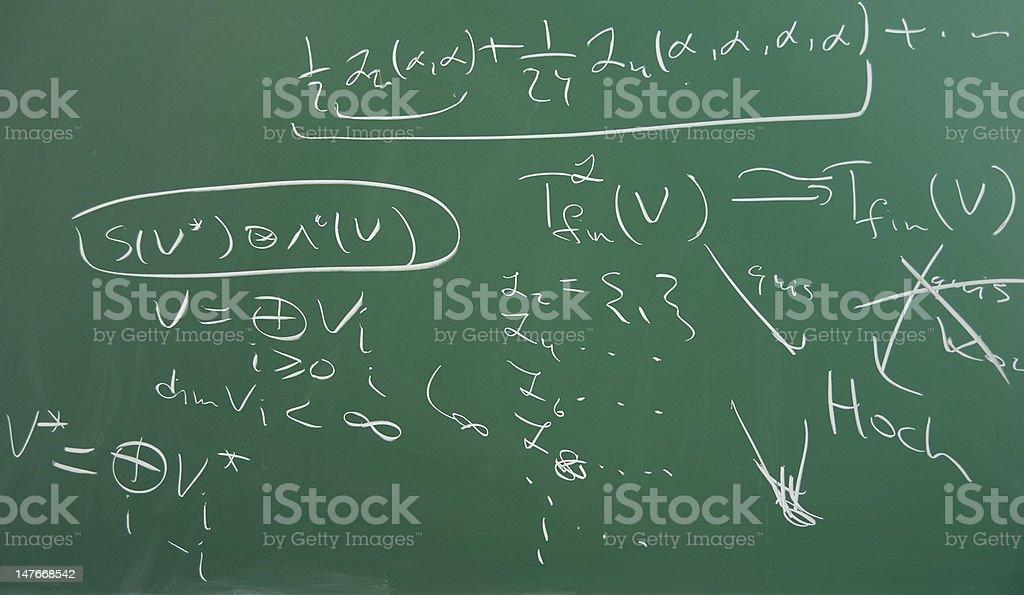 Handwritten scientific mathematical formulas on green blackboard royalty-free stock photo