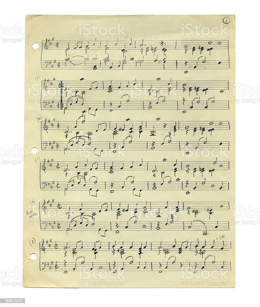 Handwritten Sheet Music on Worn Old Paper stock photo