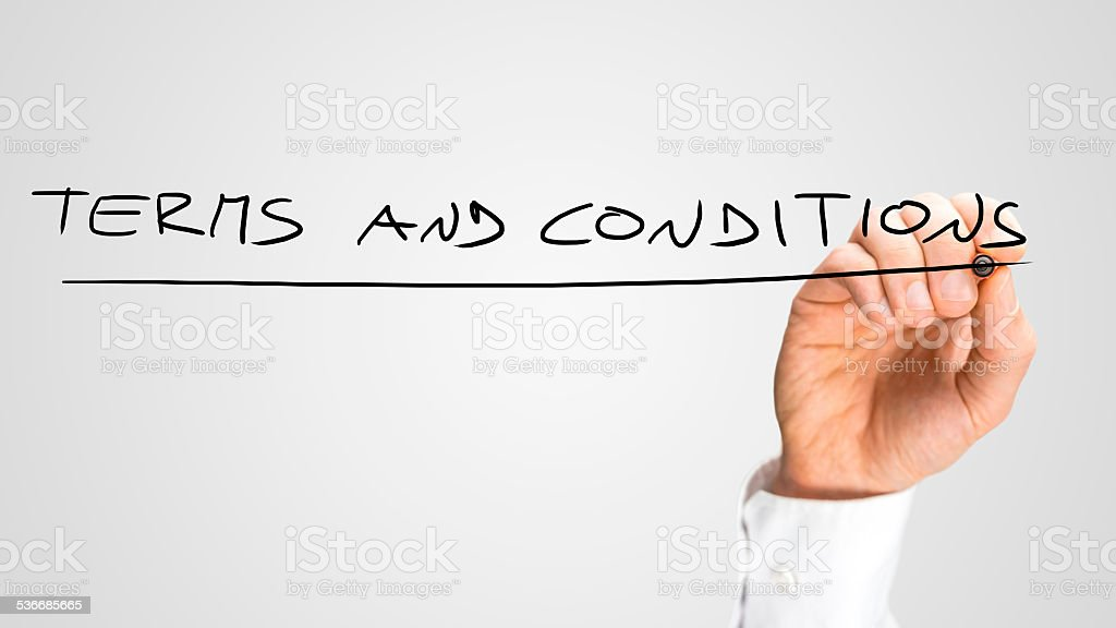 Handwritten Underlined Terms and Conditions Texts stock photo