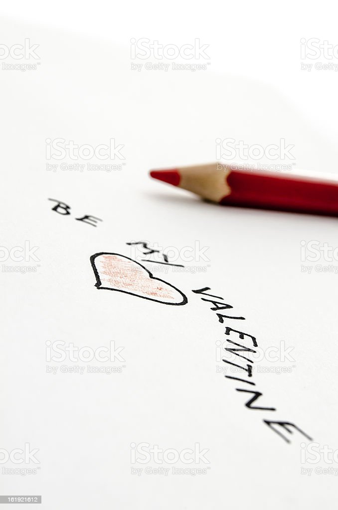 Handwritten Valentine message royalty-free stock photo