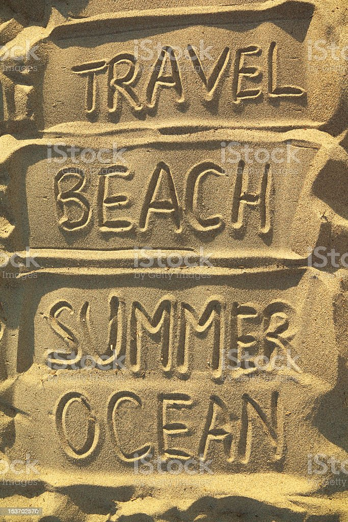 Handwritten words on sand - travel, beach, summer and ocean royalty-free stock photo