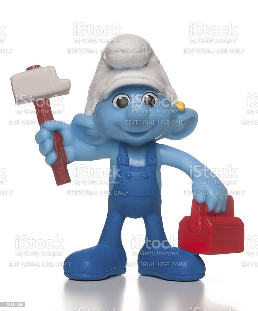 Handy Smurf McDonalds happy meal toy stock photo