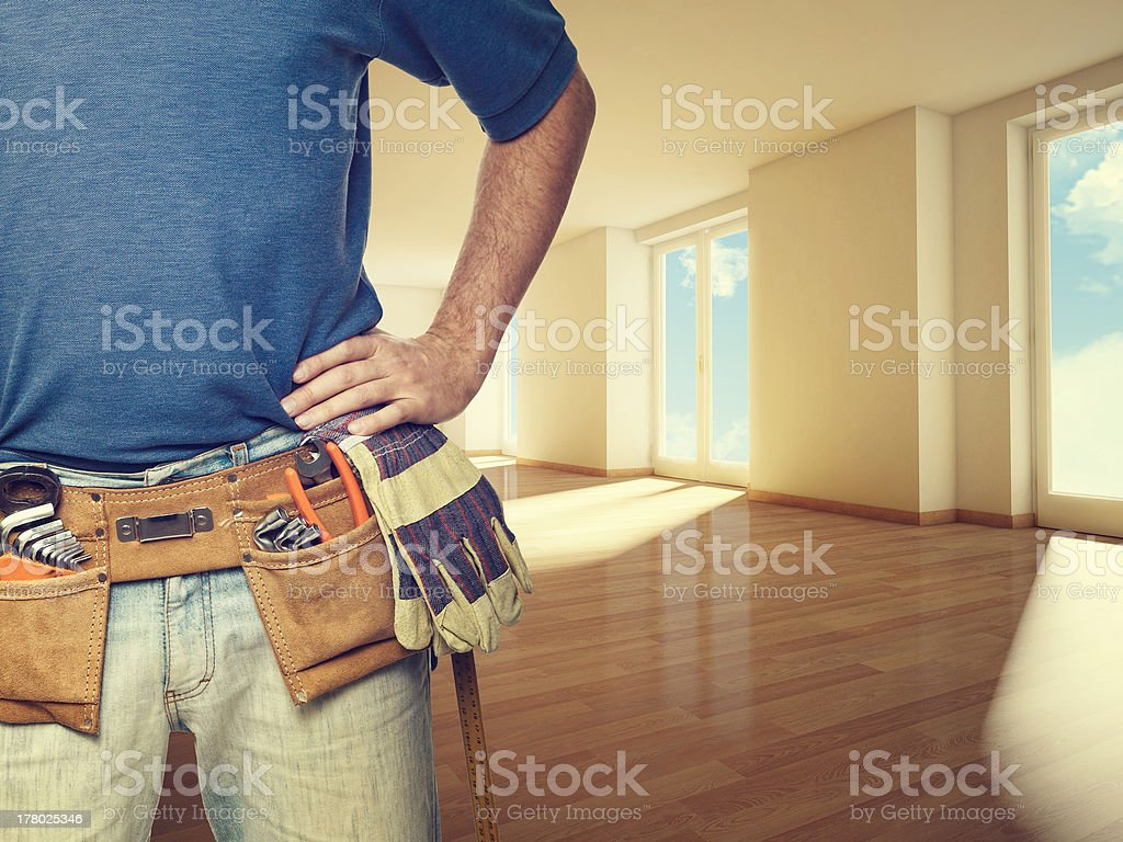 handyman at home stock photo