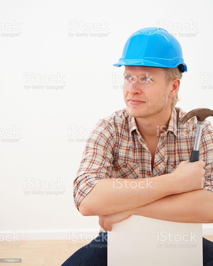 Handyman looking at copyspace royalty-free stock photo