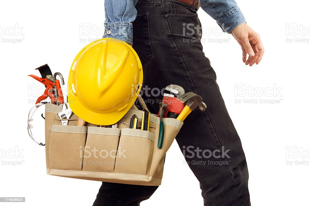 Handyman, Repairman Carrying Work Tools, Walking with Home Improvement Equipment royalty-free stock photo