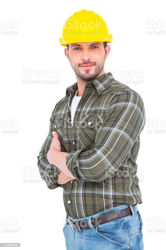 handyman smiling stock photo