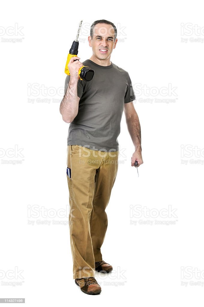 Handyman with a drill and screwdriver royalty-free stock photo