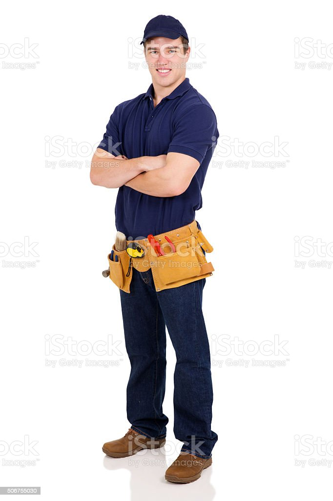 handyman with arms crossed stock photo