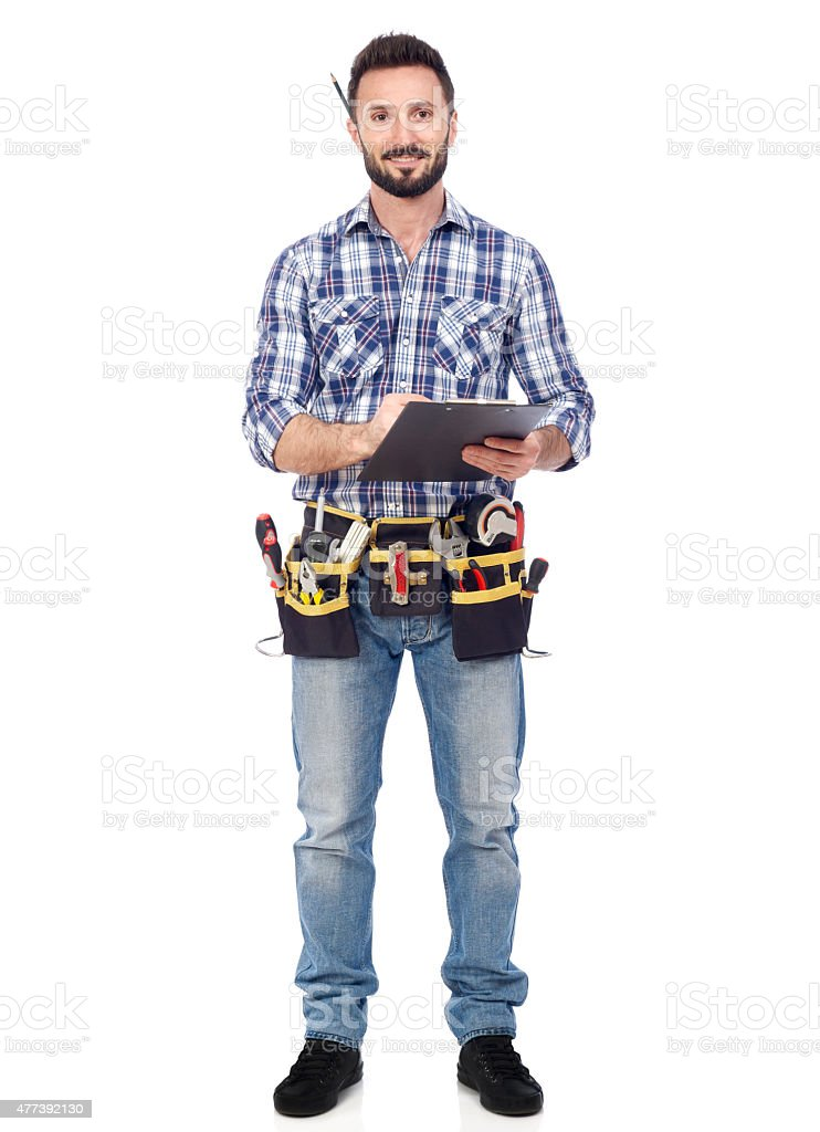 Handyman with clipboard stock photo