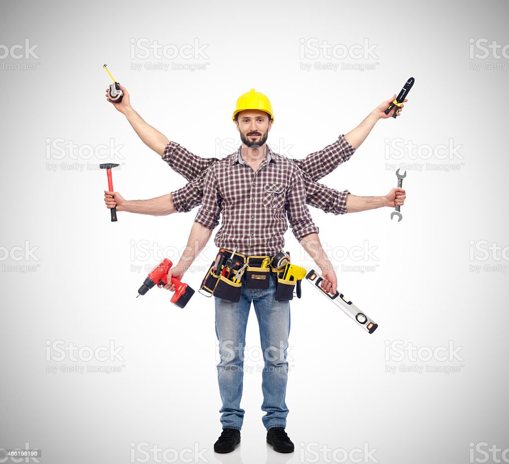 Handyman with extra arms and tools in each arm  stock photo