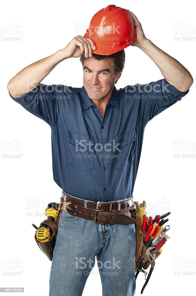 Handyman With Hardhat royalty-free stock photo
