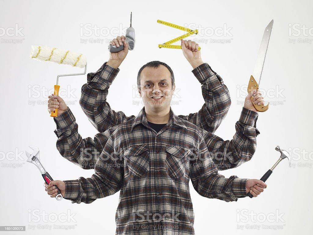 Handyman With Six Arms (Digital Composite) stock photo