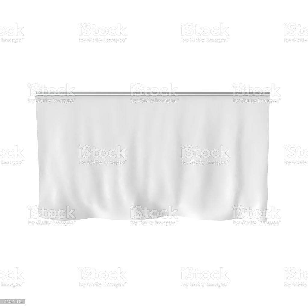 Hang down white blank cloth banner isolated on white stock photo