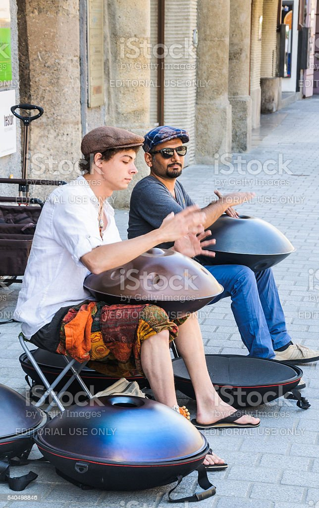 Hang Drum Buskers stock photo
