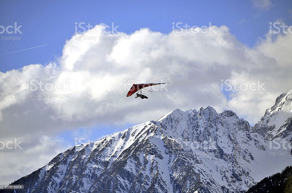 Hang glider just after launch stock photo