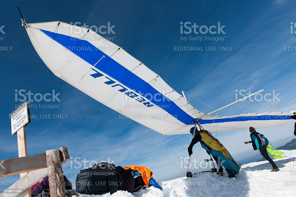 Hang glider ready for take off stock photo