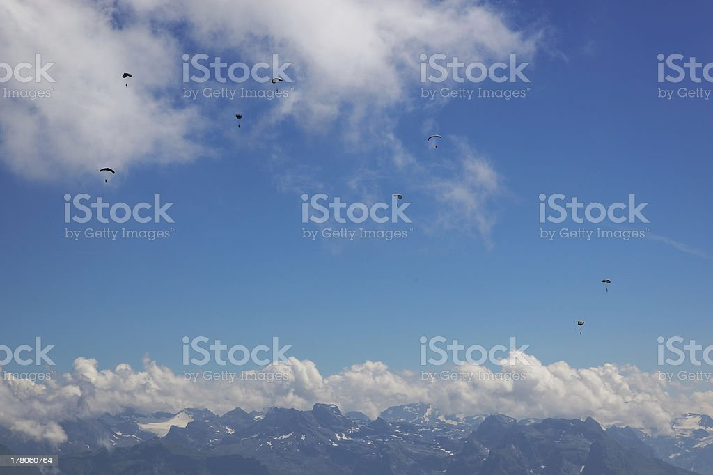 Hang gliders over mountains in Central Switzerland, Europe royalty-free stock photo