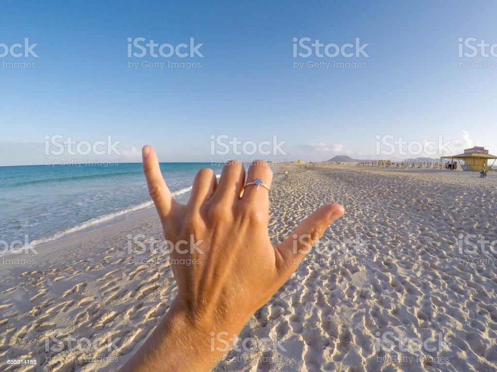 Hang Loose on the beach stock photo