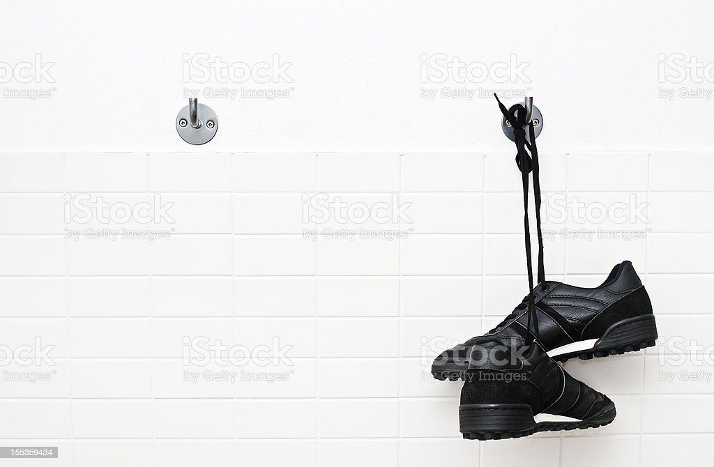 Hang up soccer shoes royalty-free stock photo