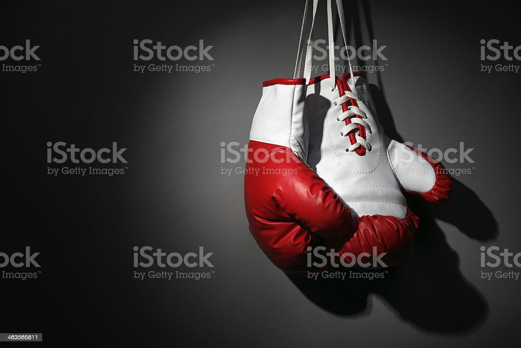 Hang up your boxing gloves stock photo