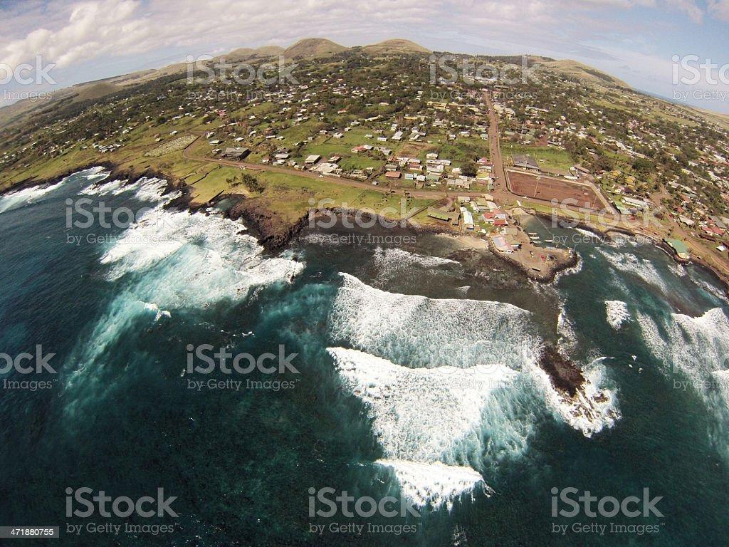 Hanga Roa Rapa Nui aereal view royalty-free stock photo