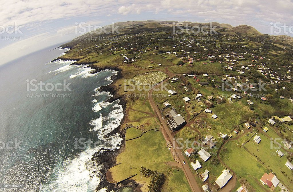 hanga roa west aereal view royalty-free stock photo