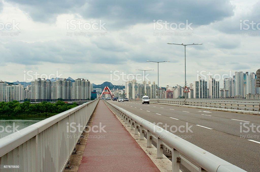 Hangang river in Seoul in summer in Korea stock photo