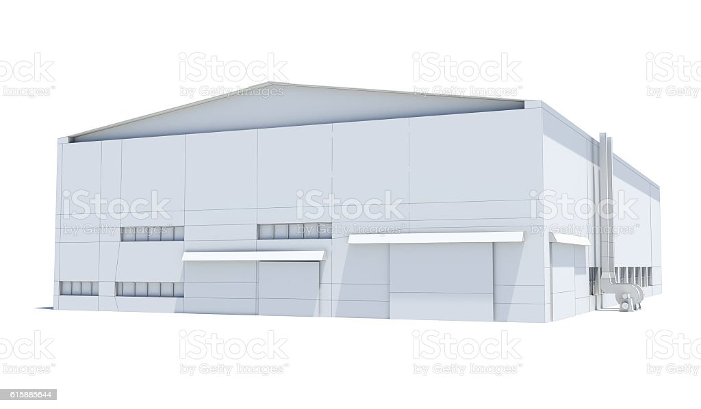 Hangar building. White wire-frame stock photo