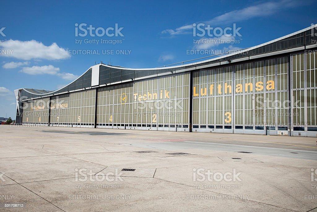 Hangar of Lufthansa Technik, Frankfurt Airport stock photo