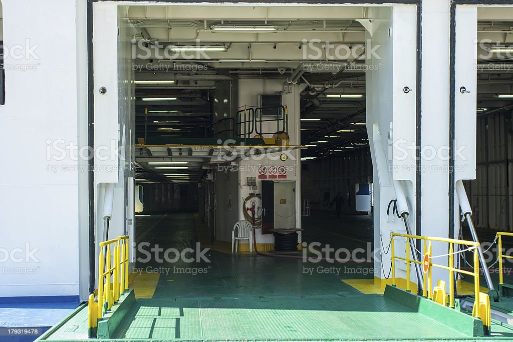 hangar on a ferry for cars royalty-free stock photo