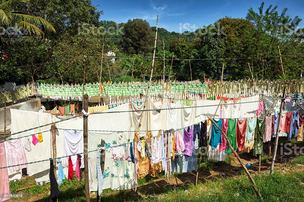 Hanged Clothes Out to Dry, Kandy, Sri Lanka stock photo