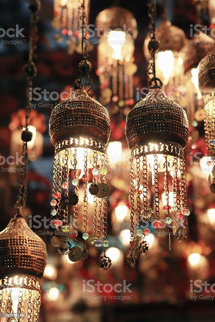 hanged eastern lamps lanterns stock photo