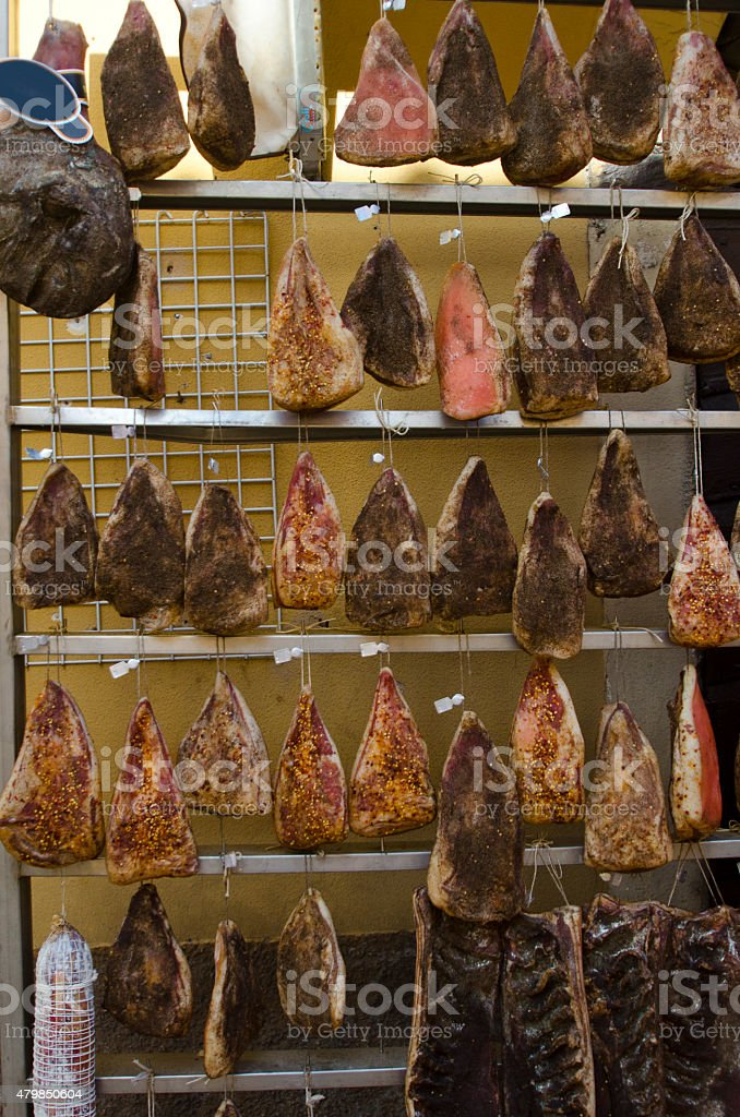 Hanged Meat, Norcia, Italy stock photo