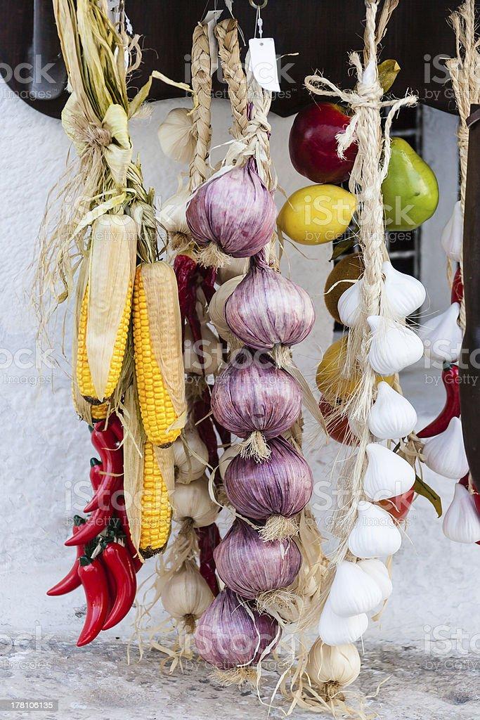 Hanged onions stock photo