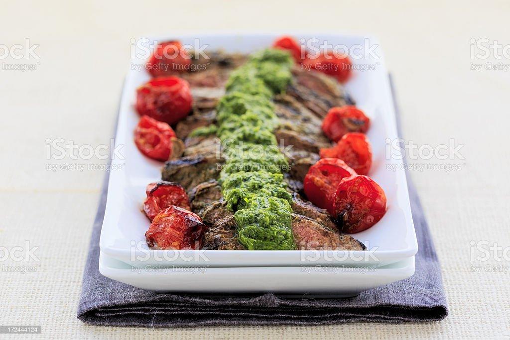 Hanger Steak with Chimichurri Sauce stock photo