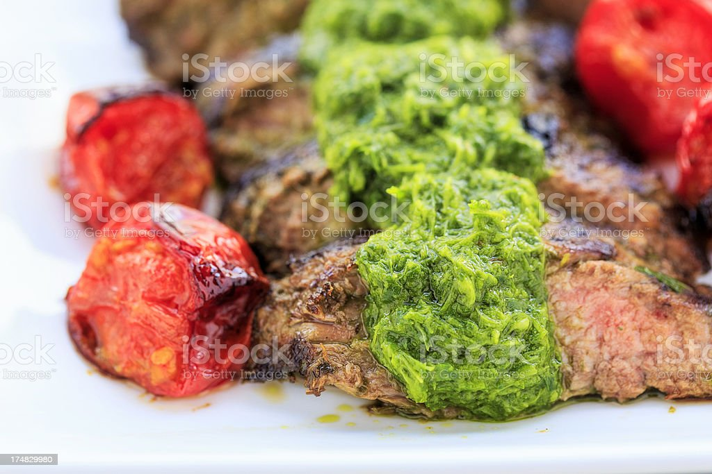 Hanger Steak with Chimichurri Sauce stock photo
