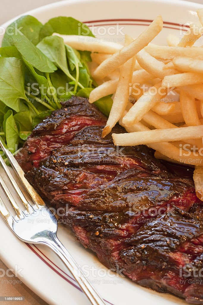 hanger steak with frites stock photo