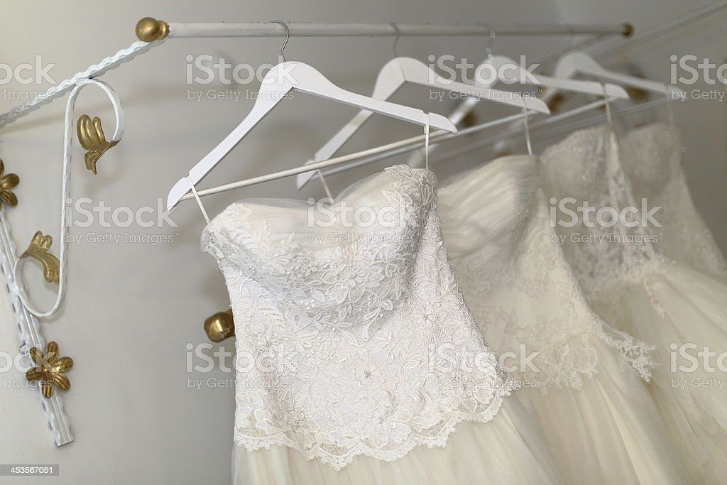 Hangers with bridal dress stock photo