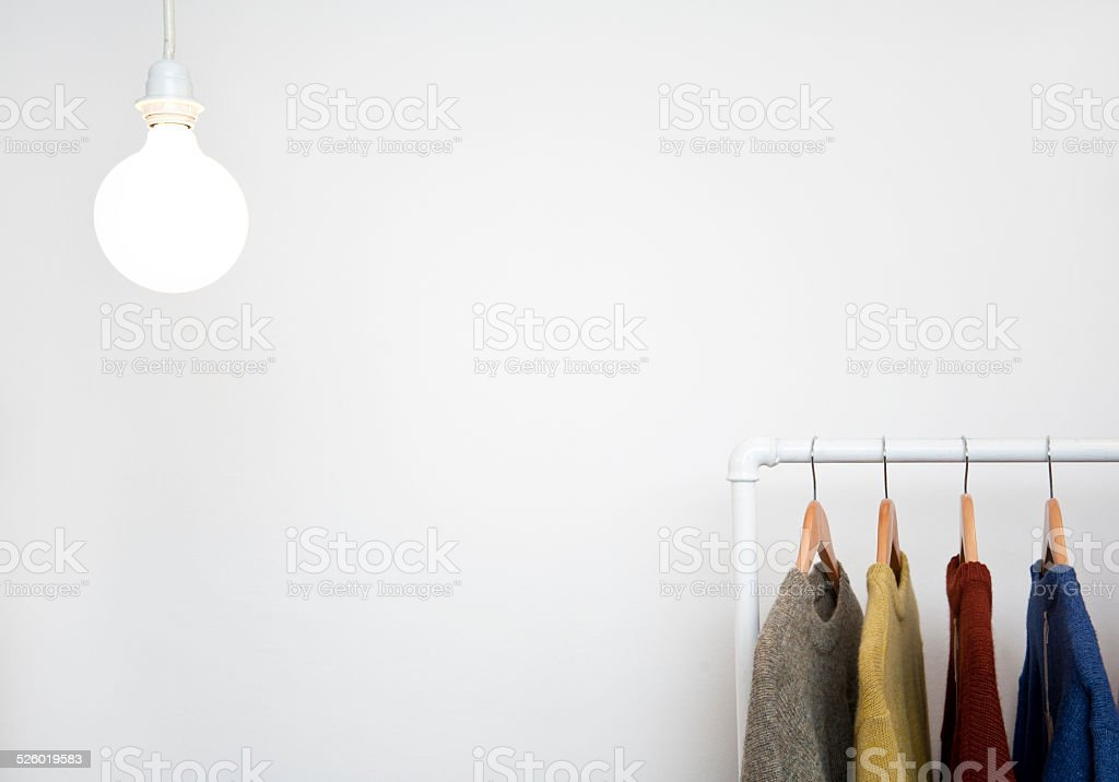 Hangers with clothes (Click for more) stock photo
