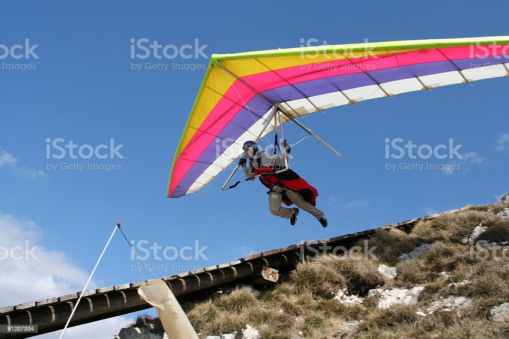 Hangglider in action stock photo