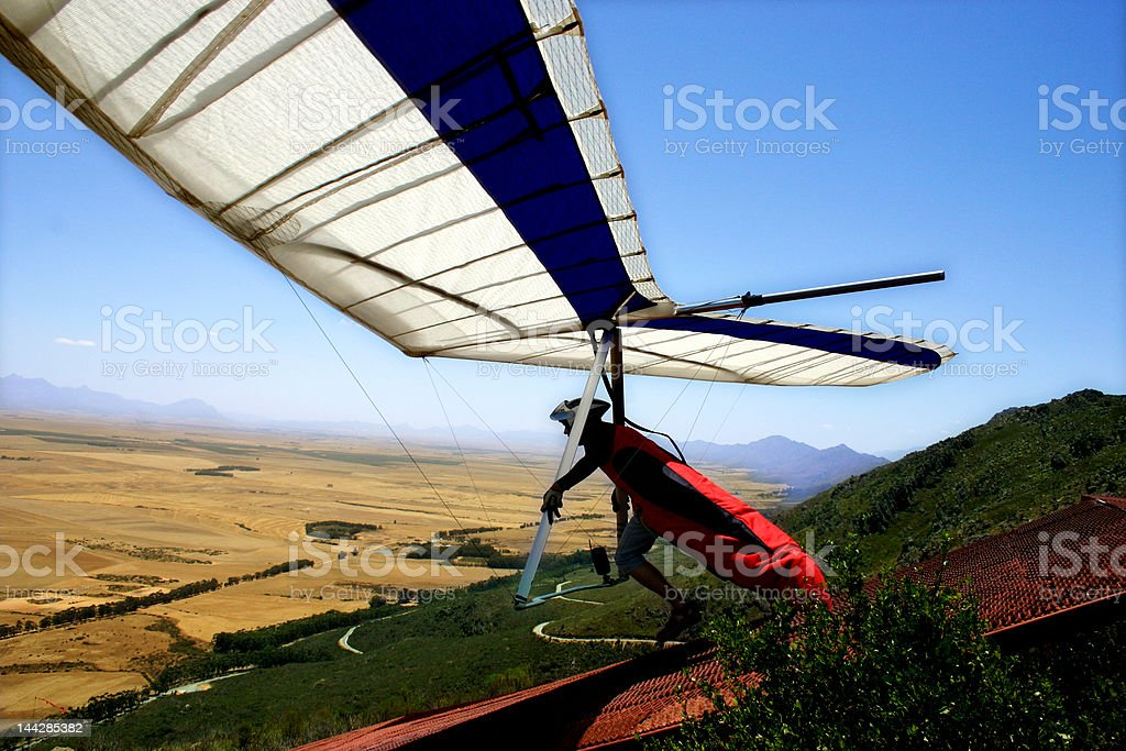 Hang-glider launch stock photo