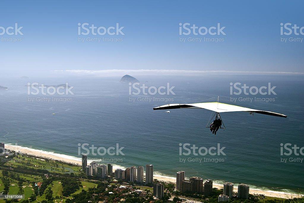 Hang-gliding over Rio de Janeiro royalty-free stock photo