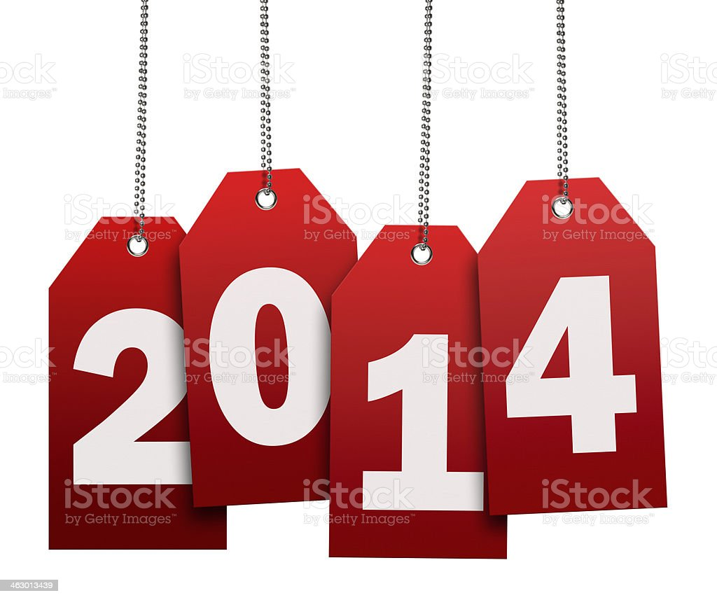 Hanging 2014 Red Tag 4 (Clipping Path) stock photo