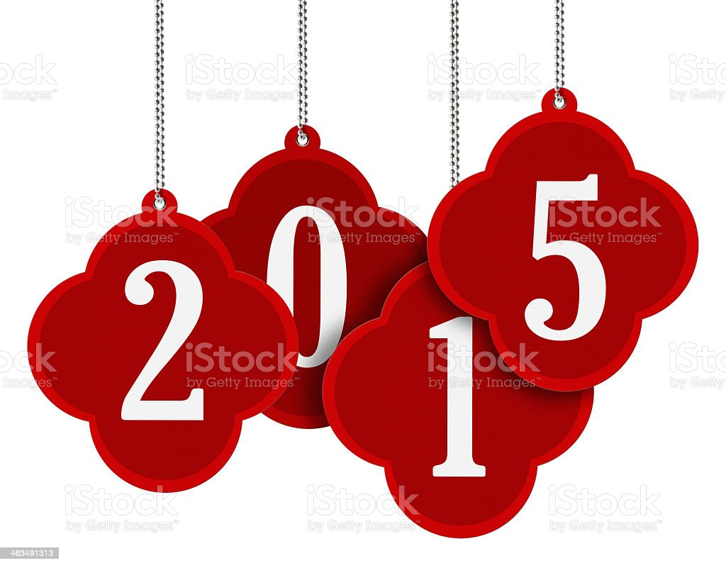 Hanging 2015 Red Tag 4 (Clipping Path) stock photo