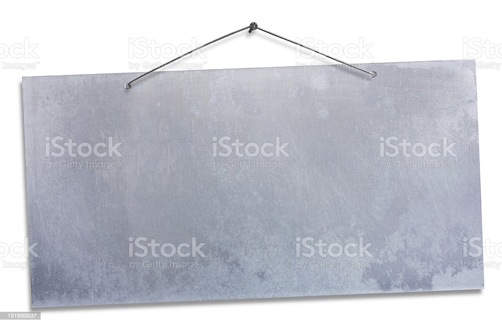 hanging aluminum sheet - clipping path stock photo