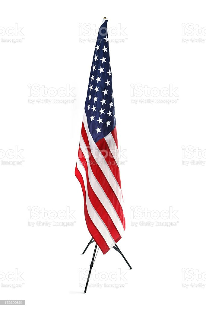 Hanging American Flag, Isolated on White stock photo