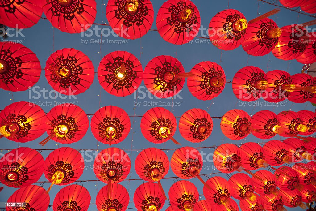 Hanging Asian Lanterns royalty-free stock photo