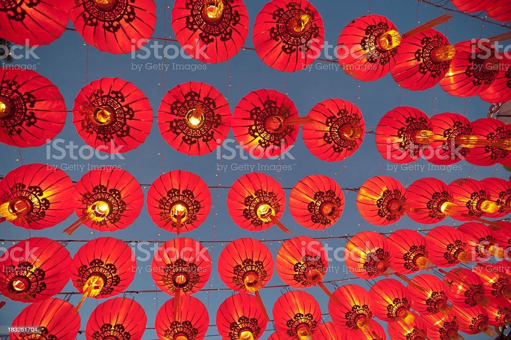 Hanging Asian Lanterns stock photo